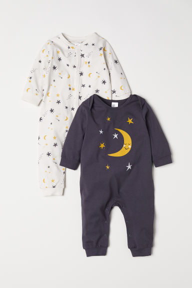 2-pack jersey pyjamas - Dark grey/Moon - Kids | H&M