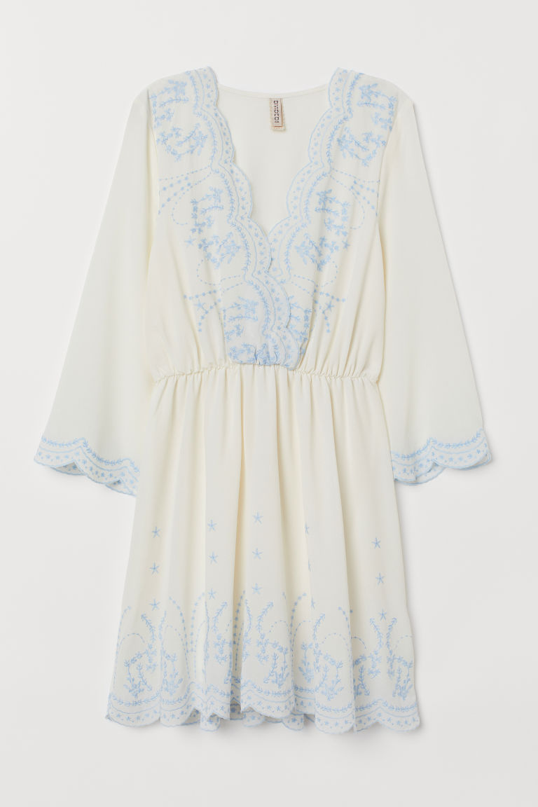 Dress with Embroidery - White -  | H&M US