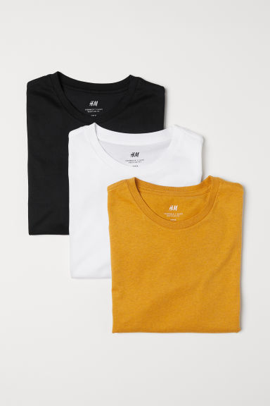 3-pack T-shirts Regular Fit - Yellow/Multicoloured - Men | H&M