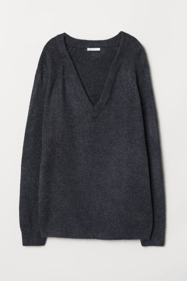 V-neck jumper - Dark grey - Ladies | H&M