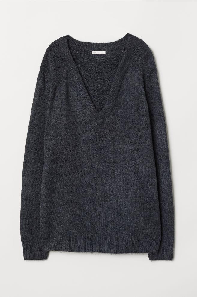 44797755e30c7 V-neck jumper - Dark grey - Ladies