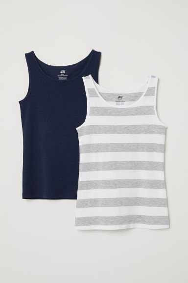 2-pack jersey vest tops - White/Blue striped - Kids | H&M