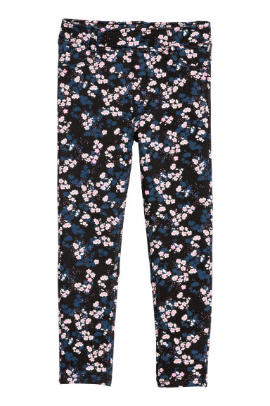 Sturdy jersey leggings - Dark blue/Floral - Kids | H&M CN
