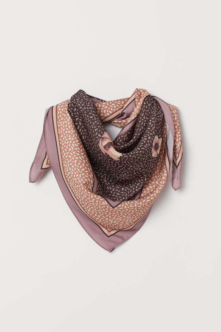 Foulard in satin fantasia - Marrone/fiori - DONNA | H&M IT