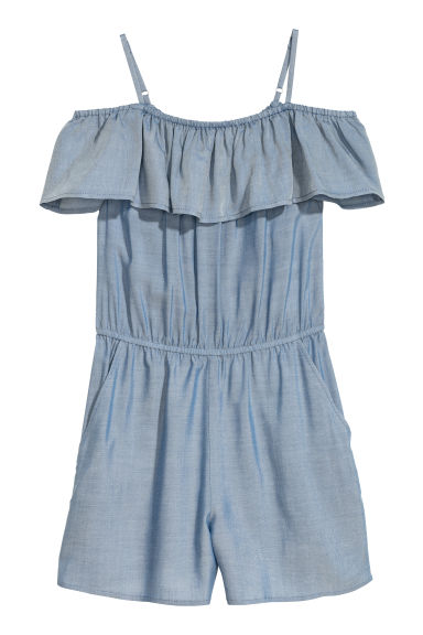 Off-the-shoulderplaysuit - Blauw - KINDEREN | H&M BE