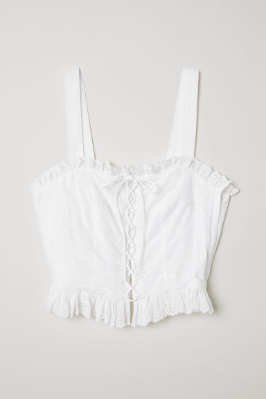 Top with broderie anglaise - White - Ladies | H&M CN