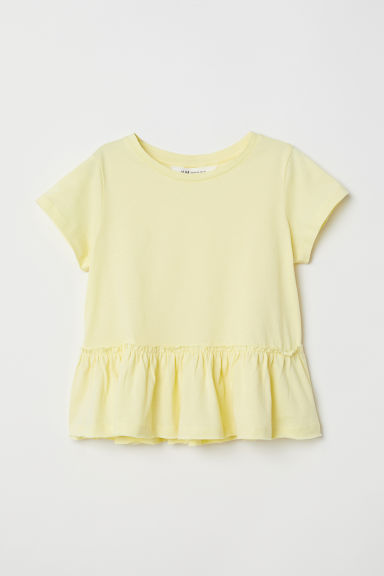 Short-sleeved flounced top - Yellow - Kids | H&M
