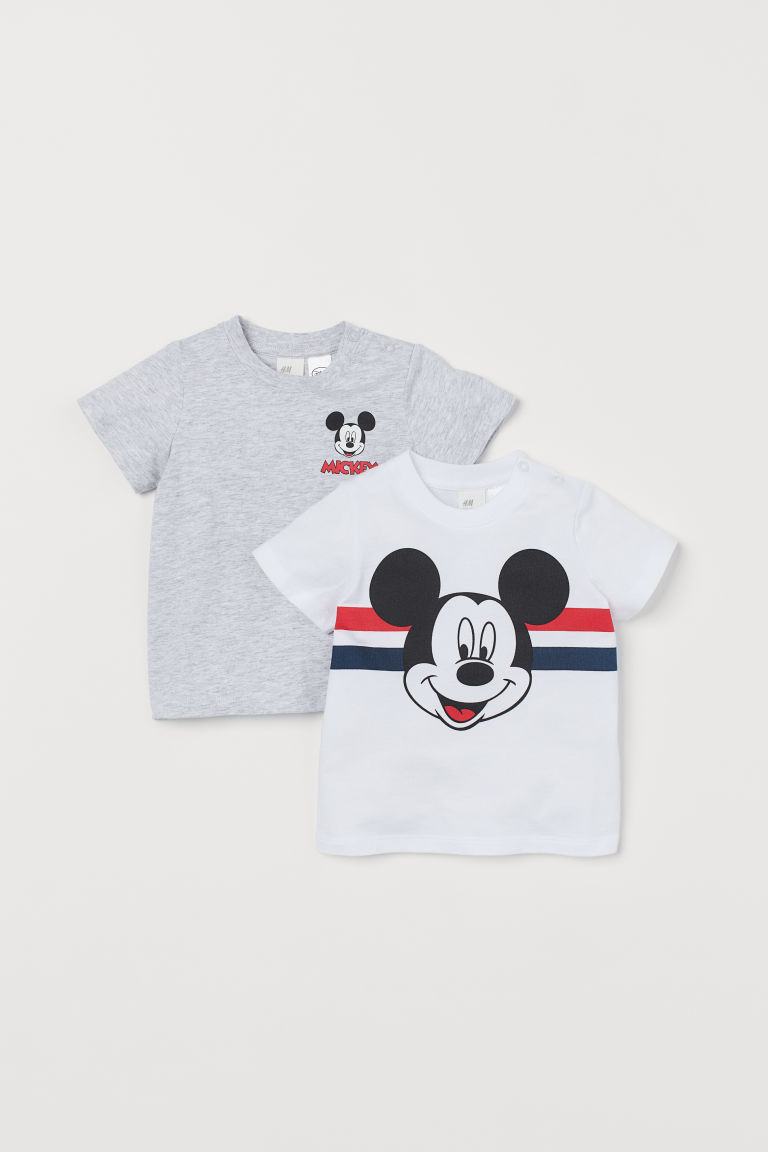 2-pack printed T-shirts - White/Mickey Mouse - Kids | H&M