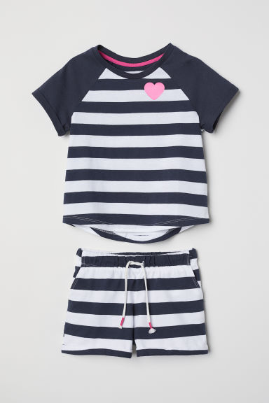 T-shirt e shorts - Blu scuro/righe - BAMBINO | H&M IT