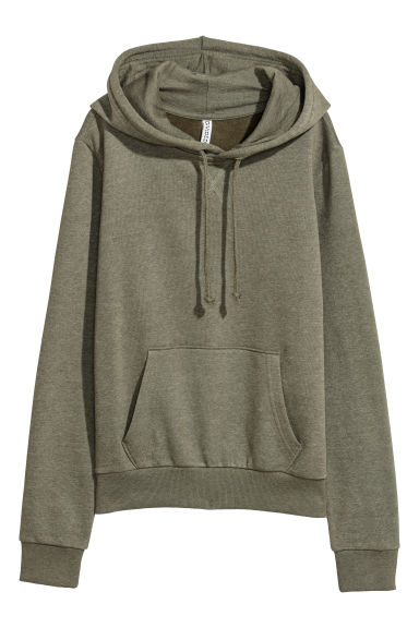 Hooded top - Khaki green marl -  | H&M