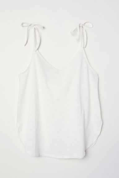 V-neck strappy top - White - Ladies | H&M