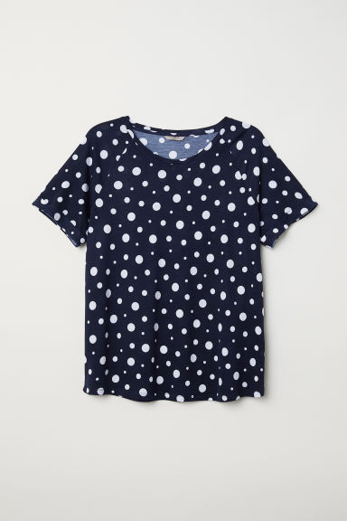 H&M+ Short-sleeved top - Dark blue/Spotted -  | H&M CN