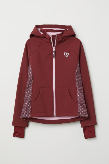Hooded softshell jacket - Burgundy - Kids | H&M