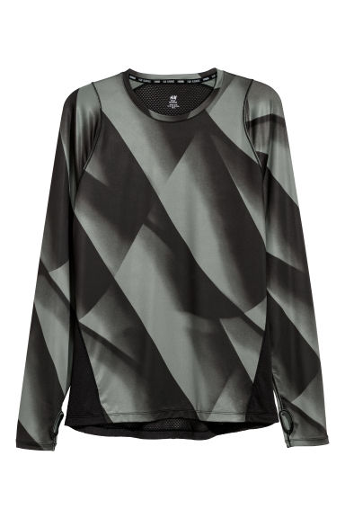 Long-sleeved running top - Green/Black patterned -  | H&M