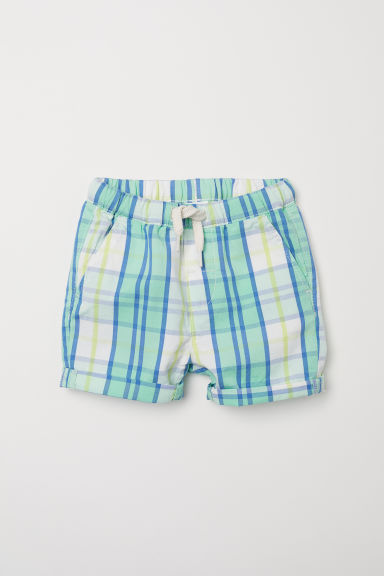 Checked cotton shorts - Light green/Checked - Kids | H&M CN