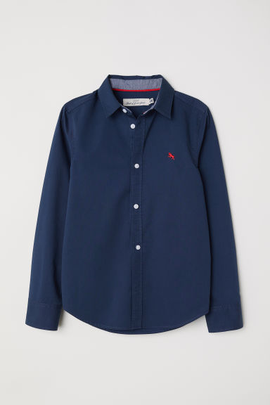 Cotton shirt - Dark blue - Kids | H&M