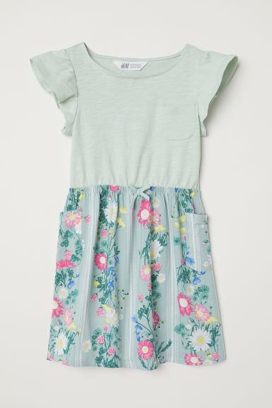 Printed dress - Light green/Floral -  | H&M