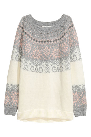 Jacquard-knit jumper - White/Grey - Ladies | H&M CN
