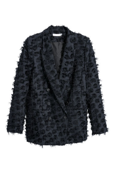 Double-breasted jacket - Dark blue/Fringes - Ladies | H&M GB