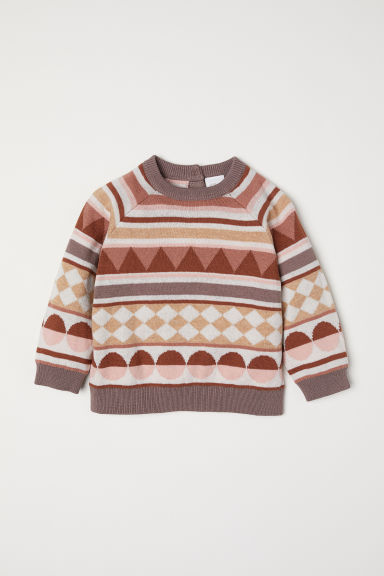 Jacquard-knit jumper - Mole/Patterned - Kids | H&M CN