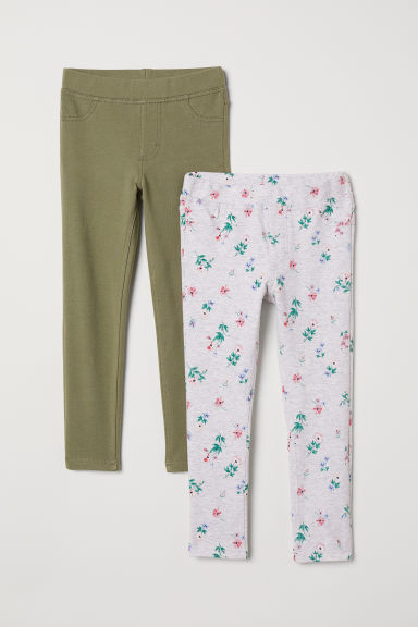 2-pack Leggings - Khaki green/gray - Kids | H&M CA