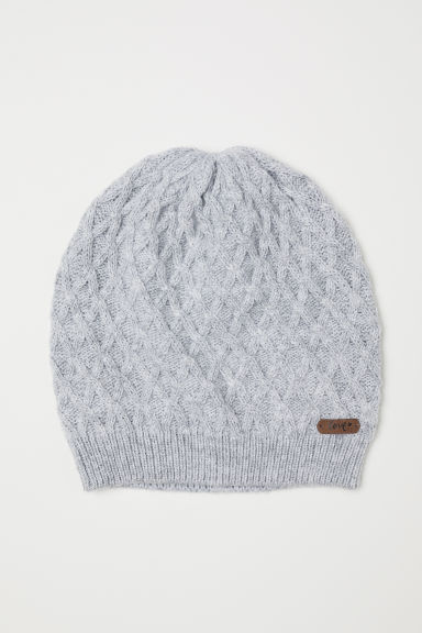 Cable-knit hat - Light grey -  | H&M CN