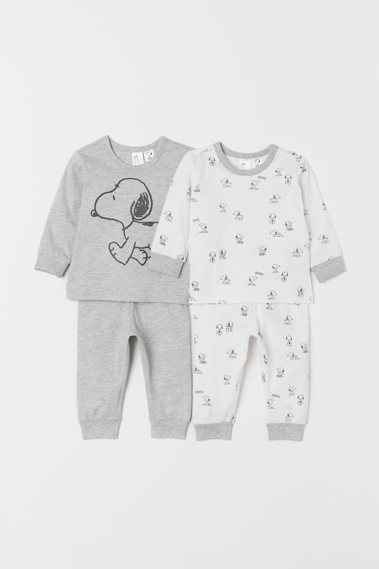 2-pack Jersey Sets - Light gray melange/Snoopy - Kids | H&M CA