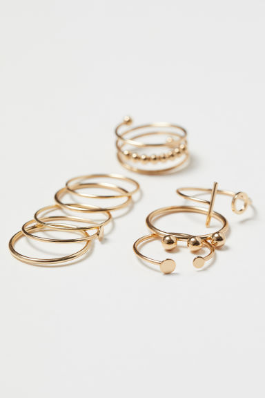 9-pack rings - Gold-coloured - Ladies | H&M