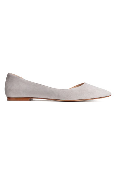 Suede ballet pumps - Grey - Ladies | H&M CN