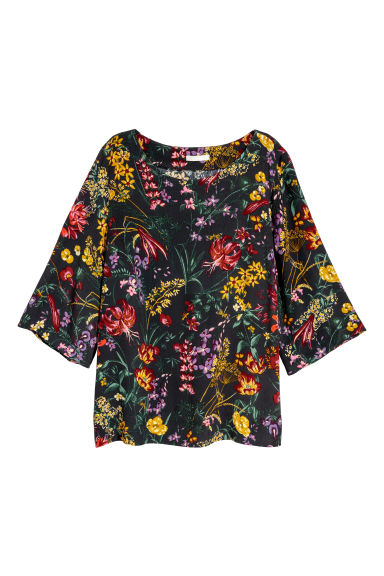 Short-sleeved blouse - Dark grey/Floral - Ladies | H&M