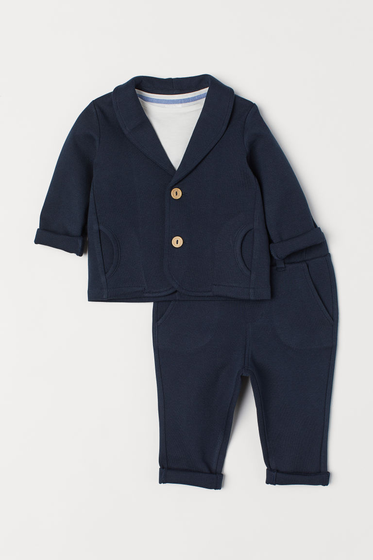 3-piece suit set - Dark blue - Kids | H&M CN