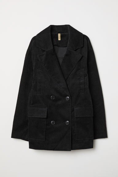 Cotton corduroy jacket - Black -  | H&M CN