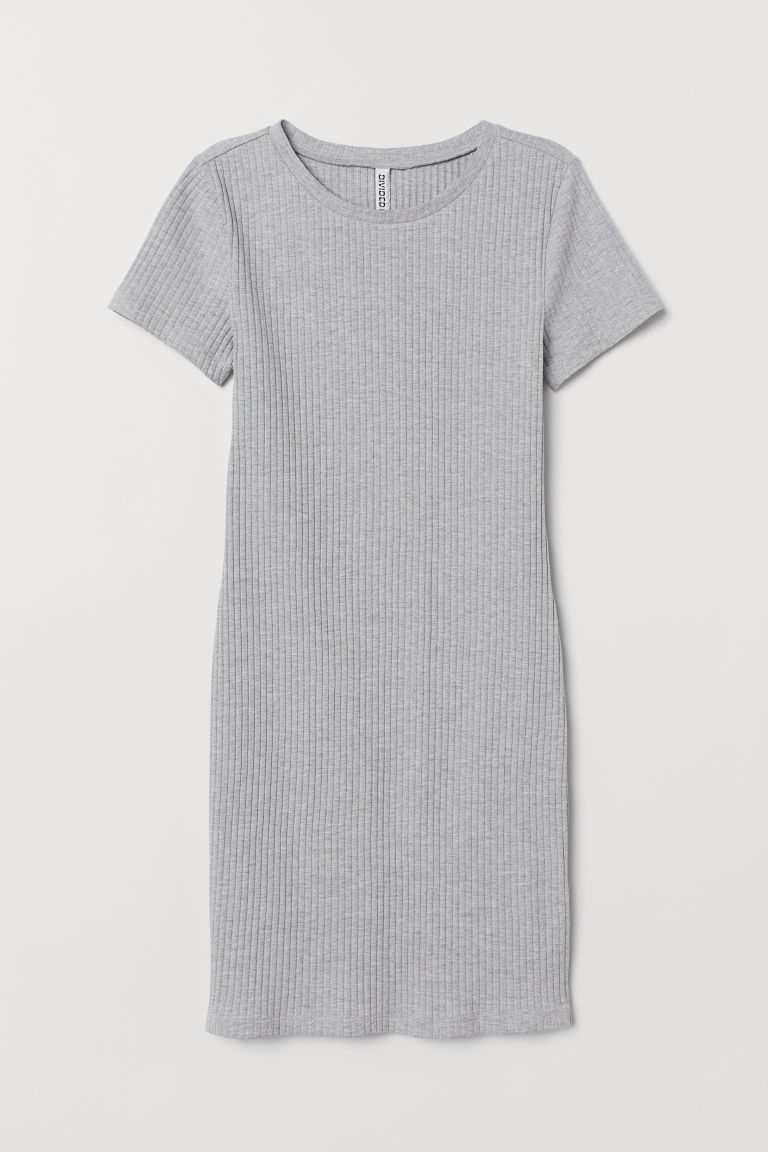Ribbed jersey dress - Grey marl -  | H&M