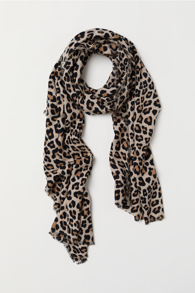 Fular de lână - Bej/imprimeu leopard - FEMEI | H&M RO 2