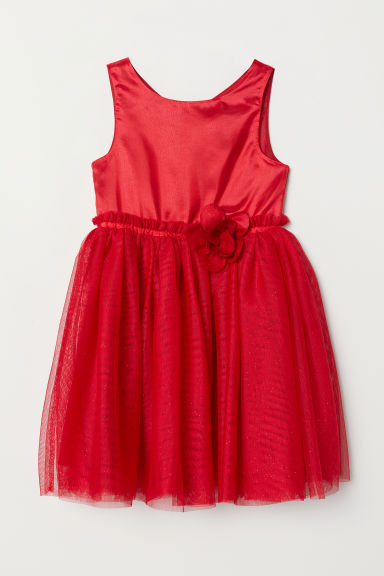 Tulle dress - Red/Glitter - Kids | H&M CN