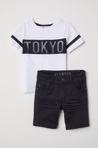 T-shirt e shorts in twill - Nero/Tokyo -  | H&M IT