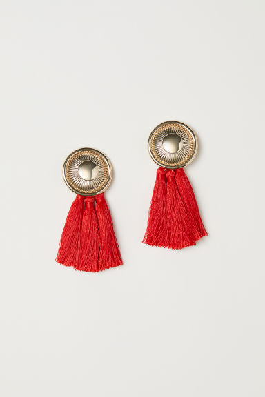 Tasselled clip earrings - Bright red - Ladies | H&M CN