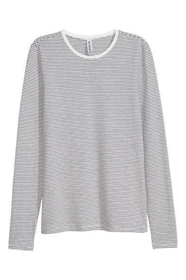 Long-sleeved jersey top - White/Striped -  | H&M IE