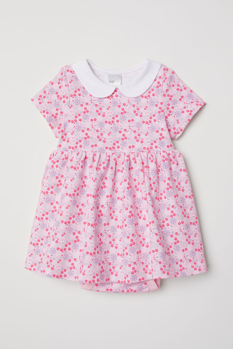 Jersey dress with bodysuit - Light pink/Floral - Kids | H&M CN