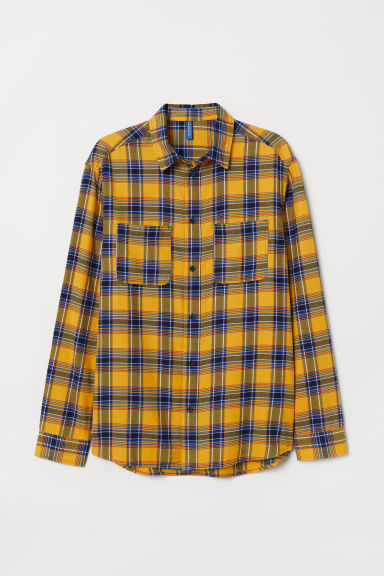 Cotton flannel shirt - Yellow/Blue checked - Men | H&M CN
