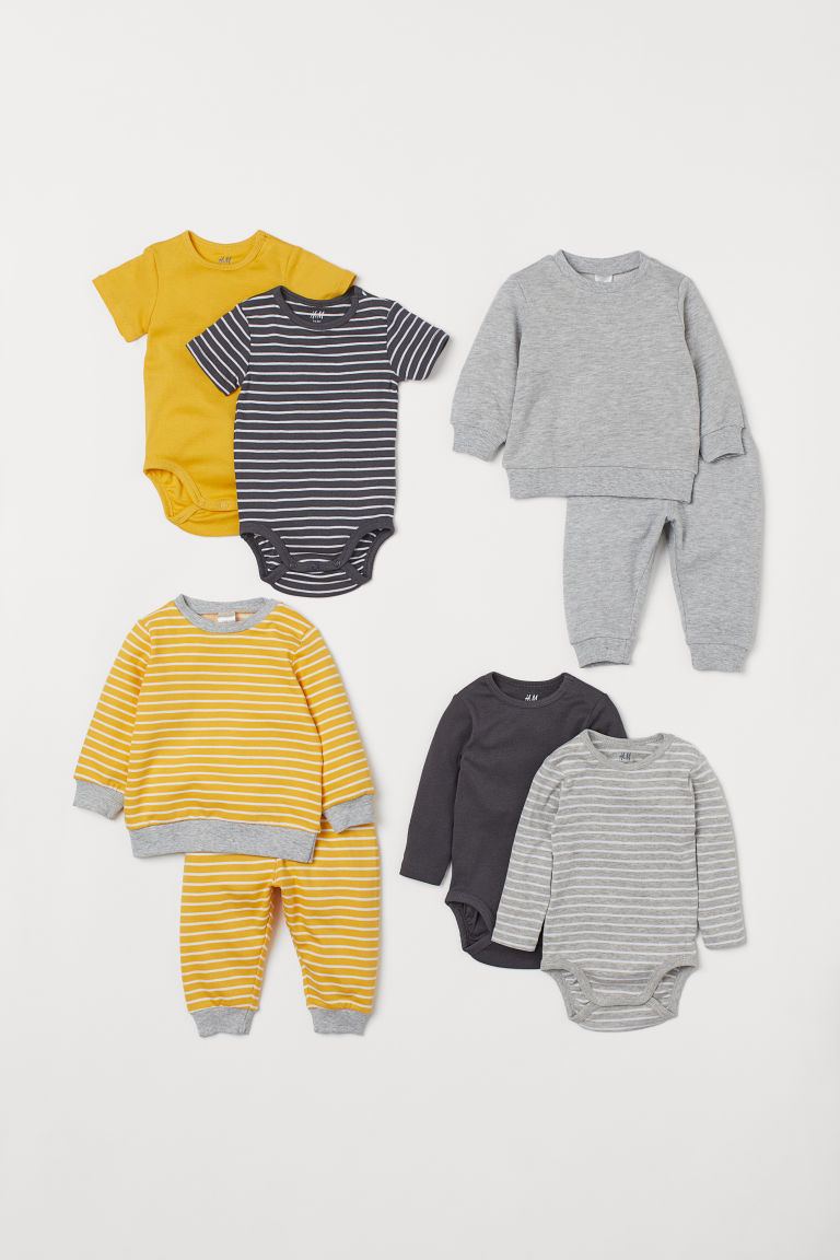 8-piece Cotton Set - Yellow/striped -  | H&M US