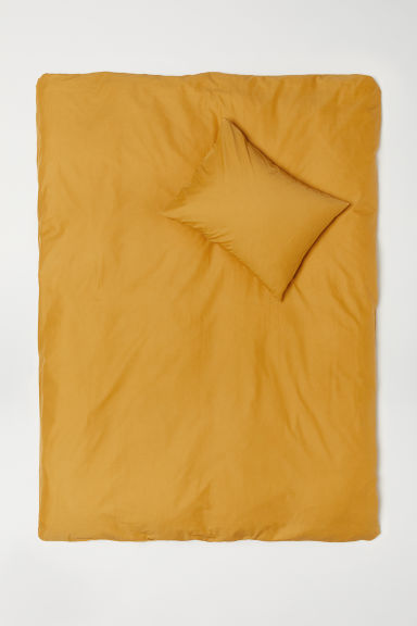 Cotton Duvet Cover Set - Dark yellow - Home All | H&M US