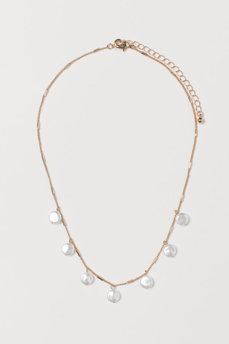 Short Necklace with Pendants - Gold-colored/white - Ladies | H&M US