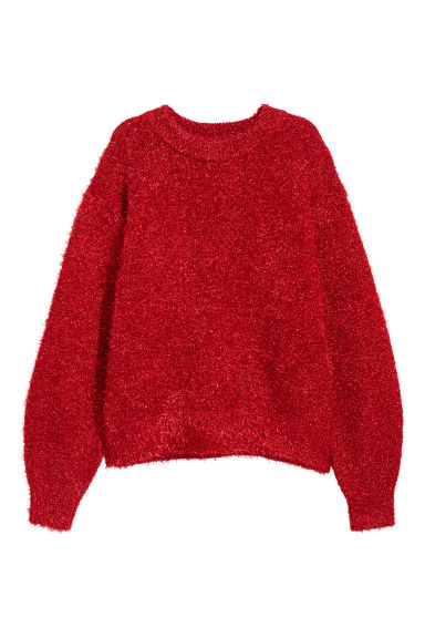Knitted jumper - Red/Glitter - Ladies | H&M GB