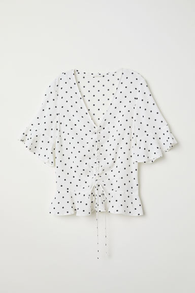 Drawstring blouse - White/Spotted -  | H&M CN