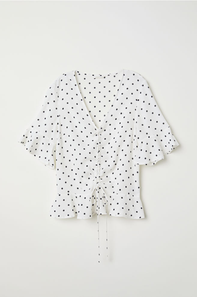 66da277cc90b55 Drawstring blouse - White/Spotted - Ladies | H&M ...