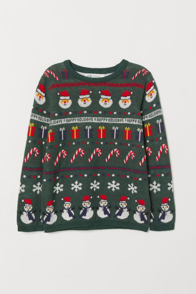 Jacquard-knit jumper - Dark green/Happy Holidays - Kids | H&M CN