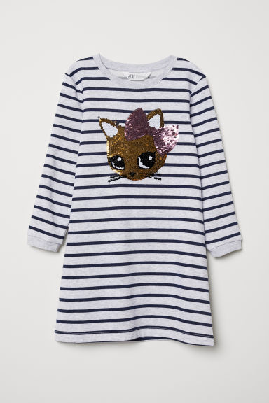 Sweatshirt dress - Light grey/Cat - Kids | H&M