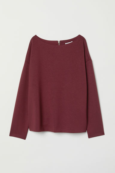 Boat-necked jersey top - Burgundy - Ladies | H&M CN