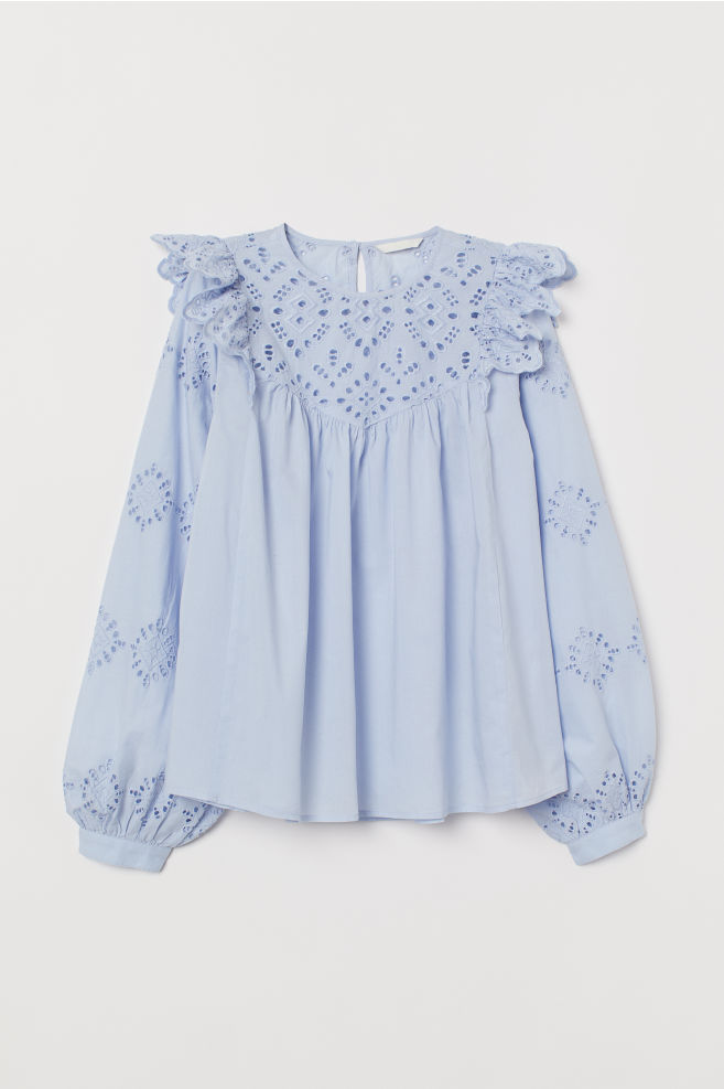 482402337d377 Blouse with Cutwork Embroidery - Light blue - Ladies